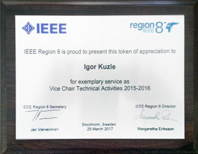IEEE Region 8 award goes to prof....